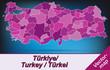 Grenzkarte von Tuerkei mit Grenzen in Violett