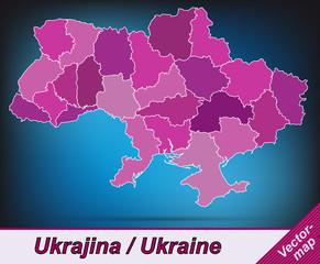Grenzkarte von Ukraine mit Grenzen in Violett