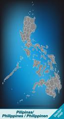 Philippinen mit Grenzen in leuchtend grau