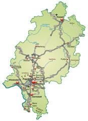 Hessen  mit Verkehrsnetz in Pastelgrün