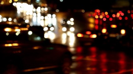 defocused evening car traffic at rush hour - timelapse