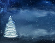 beautiful Christmas background with Christmas tree and stars