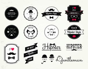 Hipster style elements, icons and labels. Vector Illustration