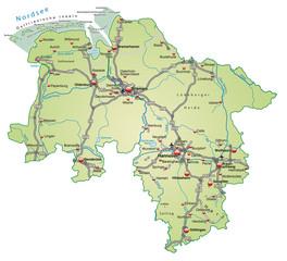 Inselkarte von Niedersachsen  mit Verkehrsnetz in Pastelgrün