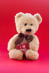 Cute teddy bear holding a heart