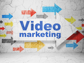 Business concept: arrow with Video Marketing on grunge wall