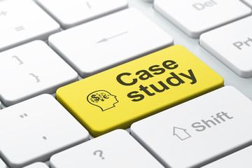 Education concept: Head With Finance Symbol and Case Study on