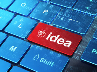 Advertising concept: Head With Gears and Idea on computer