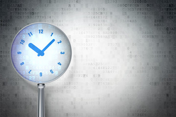 Timeline concept: Clock with optical glass on digital background