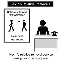 Kevin relative removal service cartoon