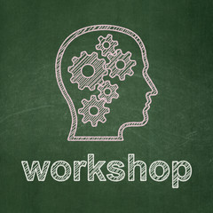 Education concept: Head With Gears and Workshop on chalkboard