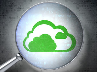 Cloud technology concept: Cloud with optical glass on digital
