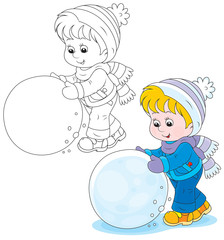 Child with a big snowball