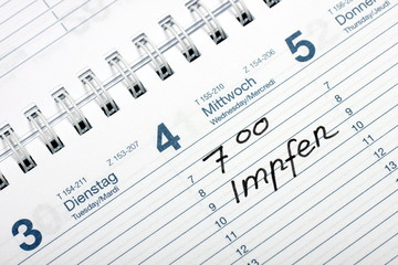 Impftermin im Kalender vermermerkt