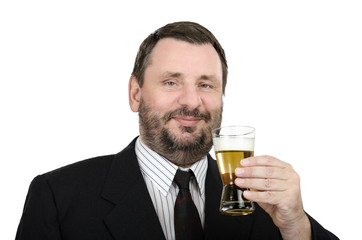 Smiling mature man with glass of lager