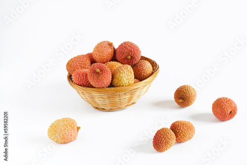 Lychee fruit isolated on white background, studio