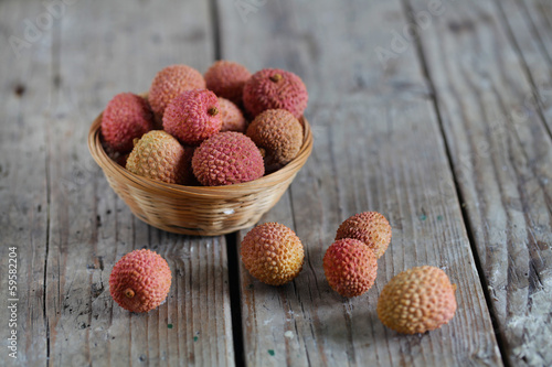 Lychee sweet tropical asian, chinese fruit, pink and ripe food