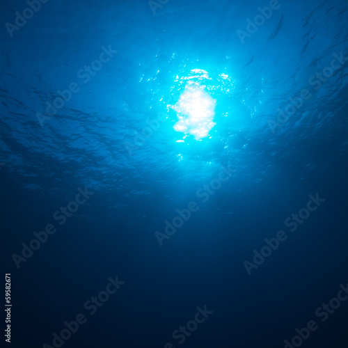 Underwater Background with Sun Beams