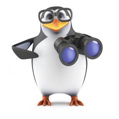 Academic penguin watches through binoculars