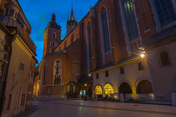 St Mary's Church in Krakaw in Blue Hour