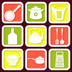 Set of 9 retro icons of kitchen utensils. Eps10
