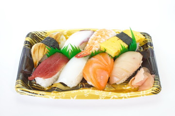 Japanese food, assorted sushi on plastic container