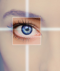 Eye technology, medicine and vision concept. Focus on woman eye