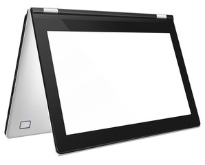 Modern convertible laptop with blank screen