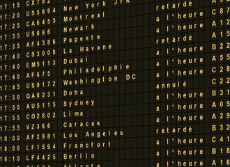 Ecran départs vols internationaux