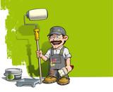 Fototapety Handyman - Wall Painter Gray Uniform