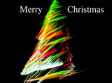 Christmas tree abstract fractal with merry Christmas text
