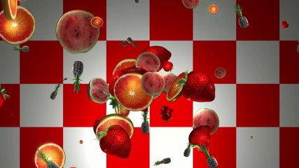Fruits flying out of the red and white background. 3D