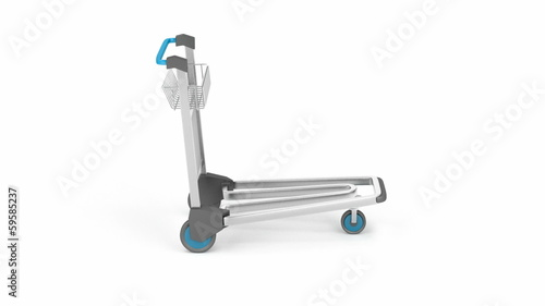 Empty airport trolley rotates on white background