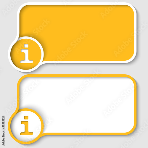 set of two yellow text frames and info marks
