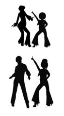 disco dancers in silhouette and 2 styles
