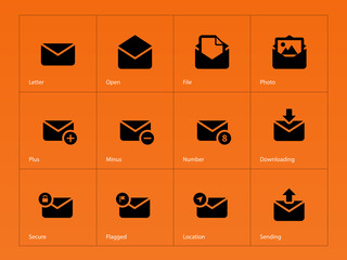 Mail icons on orange background.