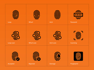 Fingerprint icons on orange background.