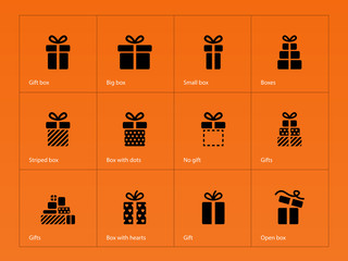 Gift icons on orange background.