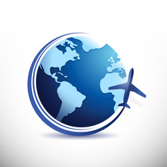 globe and plane illustration design