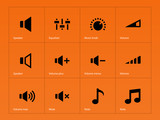 Speaker icons on orange background.