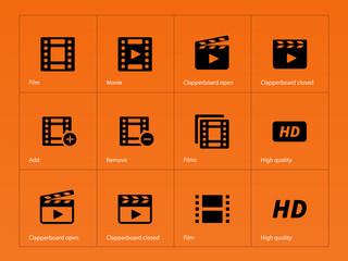 Video icons on orange background.