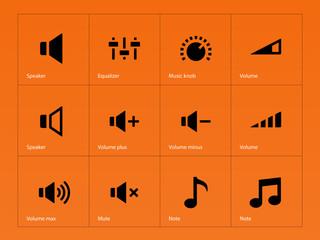 Speaker icons on orange background.