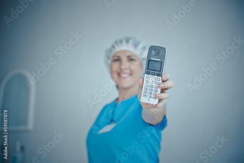 nurse on the phone.