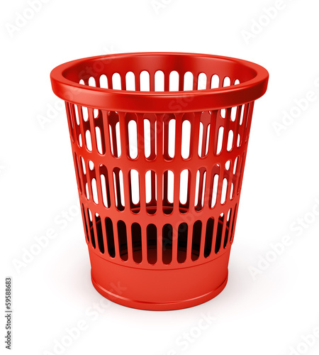 Empty red wastebasket icon