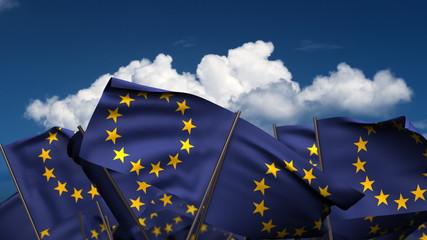 Waving Europe Flags