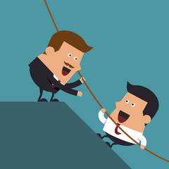 Boss giving hand to help young businessman from failed situation