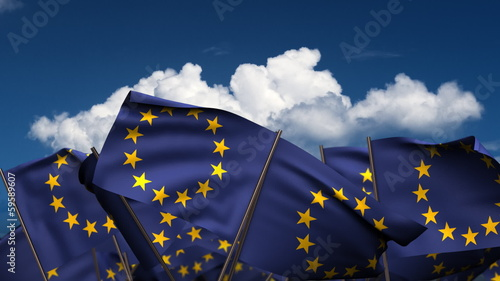 Waving Europe Flags