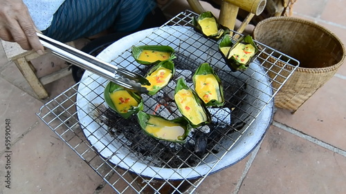 """Kai-Pam"" Omelet Of Thailand (egg in banana leaf roast)"