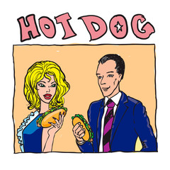 people eat a hotdog. comix stile