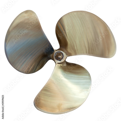 Leinwandbild Motiv three-bladed propeller. Isolated over white
